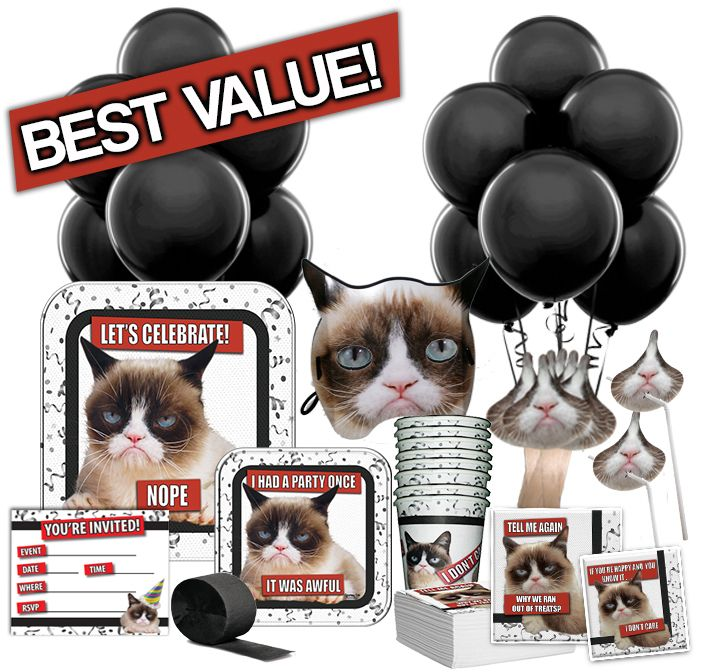 Grumpy Cat Total Party Pack - Grumpy Cat Party Supplies|http://www.grumpycatparty.com/grumpy-cat-total-party-pack/