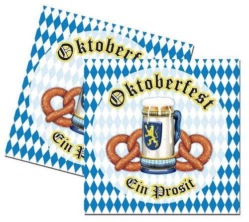 Let's Party With Balloons - Oktoberfest Paper Luncheon Napkins, $13.50 (http://www.letspartywithballoons.com.au/oktoberfest-paper-luncheon-napkins/)