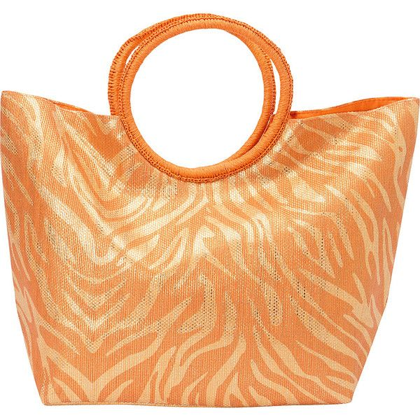 Magid Animal Print Ring Handle Bag ($30) ❤ liked on Polyvore featuring bags, handbags, orange, straw handbags, straw hand bags, top handle bag, orange purse and handbags purses