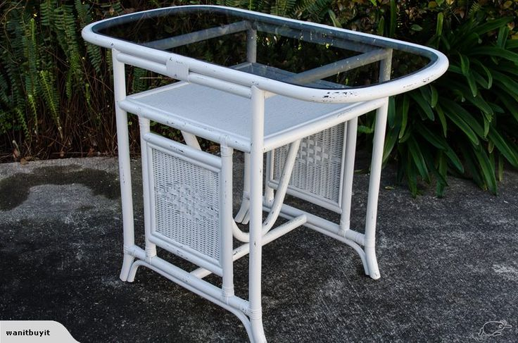 WHITE CANE /RATTAN TABLE WITH TINTED GLASS TOP | Trade Me