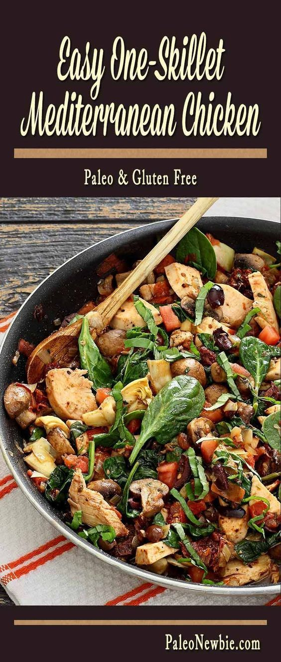 One-Skillet Paleo Mediterranean Chicken - This colorful coastal dish is layered with lean protein, fresh veggies, and intense flavors. One-pan clean up!