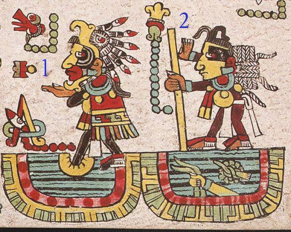 1. Luego, está la última escena del orígen de 8 Viento en el día 1 Movimiento del año 7 Pedernal en el río de Apoala (Río de linajes); 2. esta vez 11 Flor, con su bastón de mando y atado de cuerdas lo recibe.