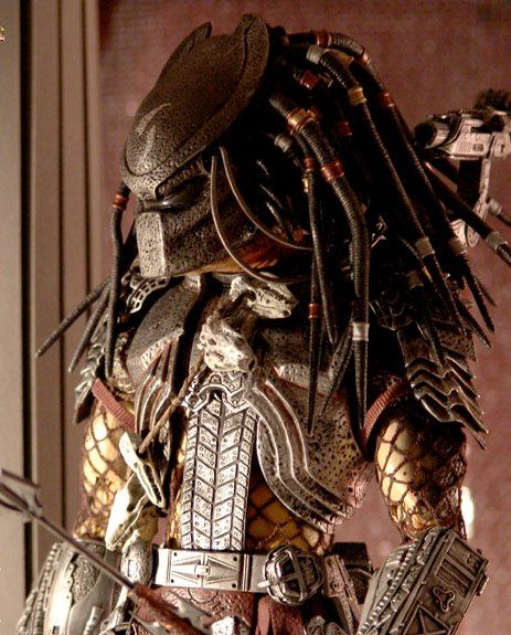 "Predator, striking the classic ""bride-to-be gazing out the window"" pose."