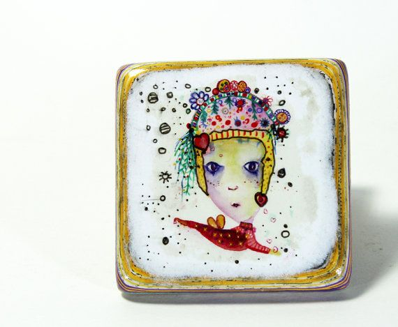 Sprinke me with mixed media Jewellery Brooch by iLopesvisualartist