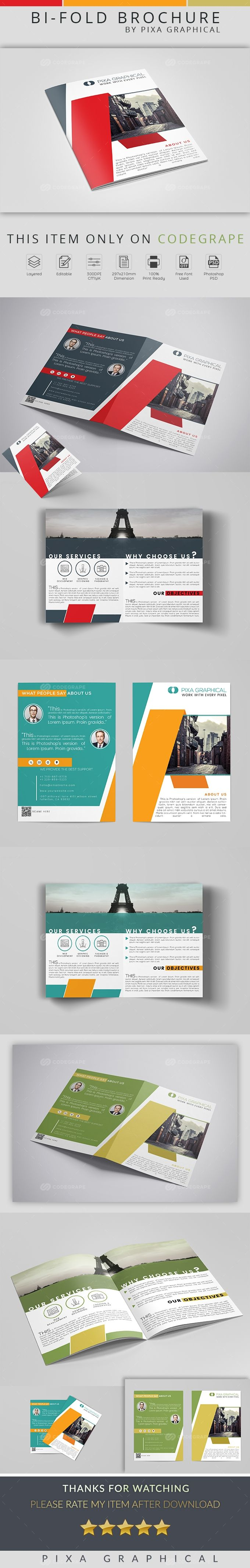 This is a Corporate Bi-Fold Brochure PSD Template. This template download contains- 300 dpi, print-ready, CMYK PSD files. All main elements are editable and customizable.These modern brochure is suitable for corporate and other branding use.