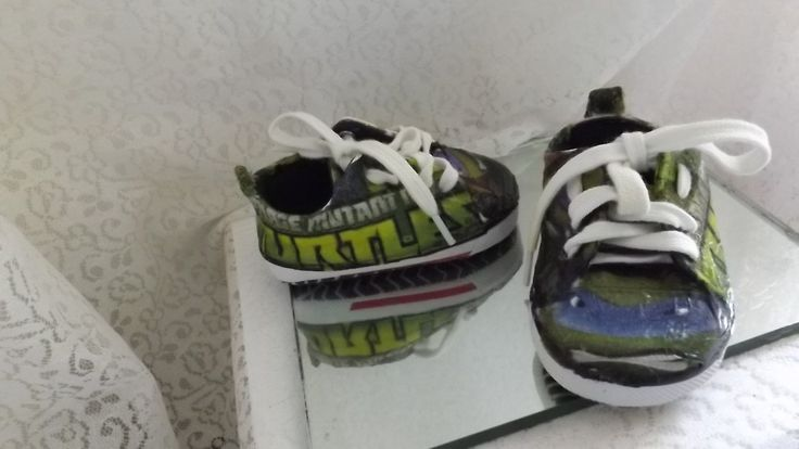 size 2, 3-6 months TMNT turtles handmade shoes by ReLightDesigns on Etsy