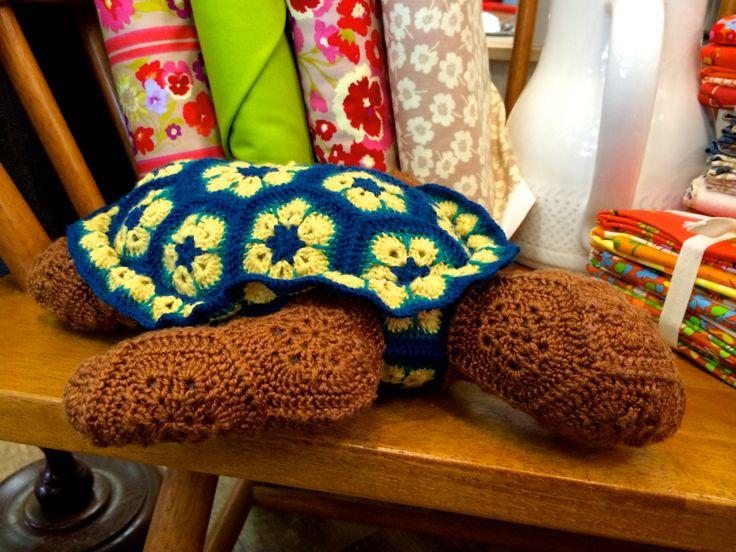 Atuin the African Flower Turtle  Pattern by Heidi Bears Hand crocheted by Mindy Abodeely  Twill Fabric & Yarn Nashua, NH www.twillnh.com