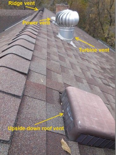 Roof Vents: Problems & Solutions (Four roof vents)  //   In other words, roof ventilation certainly isn't a cure for any condition, but it's still required.  Roof vent manufacturers publish installation instructions that are easy to read and should be easy to follow, and roof ventilation is required in section R806 of the building code, but a lot of folks either don't read the instructions or they don't care.  Today I'm going to go over a few of the most common roof vent installation errors…