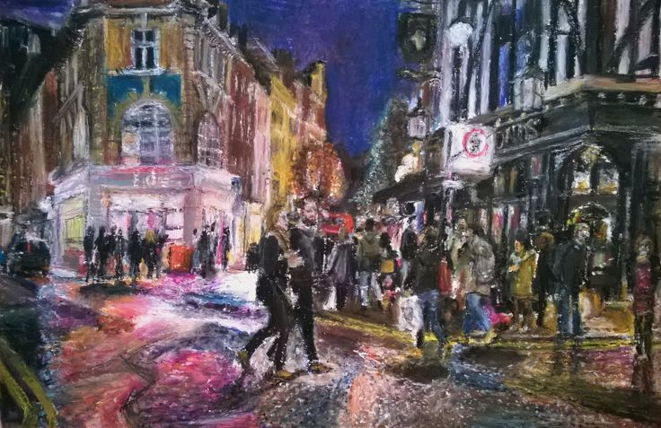 https://flic.kr/p/sdU8re | Busy Moor Street Soho London Ed's Diner | Neocolor on card 29.5 x 19.5cm