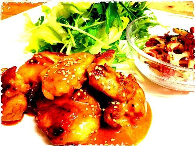 今夜は kume615さんのレシピ作ってみました꒰ෆ❛ั ु▿❛ั ु꒱マヨラーの我が家で大好評! コチュジャンがピリっときいてて最高〜リピ決っ定〜 - 79件のもぐもぐ - koume615さんの我が家で大人気!鶏肉のピリ辛マヨネーズ和え。れんこんとコンビーフのカレー炒め by kazukazumama