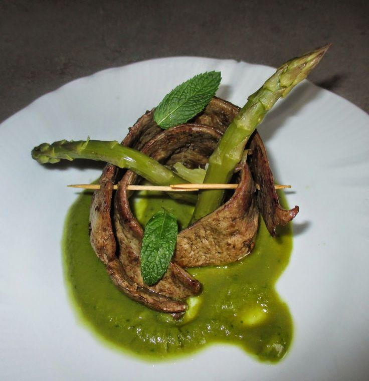 FORNELLI IN FIAMME: LIVER BEEF WITH SAUCE OF ASPARAGUS - Fegato di manzo con crema di asparagi