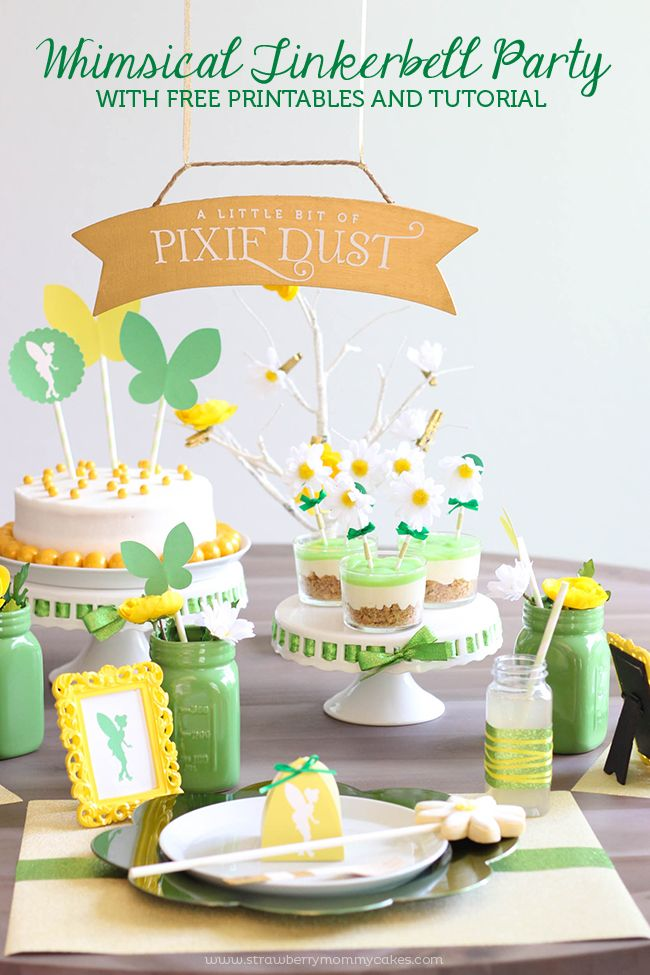 Whimsical Tinkerbell Party with FREE Printables and a Tutorial to make those cute flower cupcake toppers!