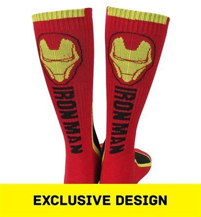 The Iron Man Two-Tone Athletic Crew Socks is a sweet pair of socks for people who are a fan of Tony Stark and his assortment of power-armors. Take a look see!