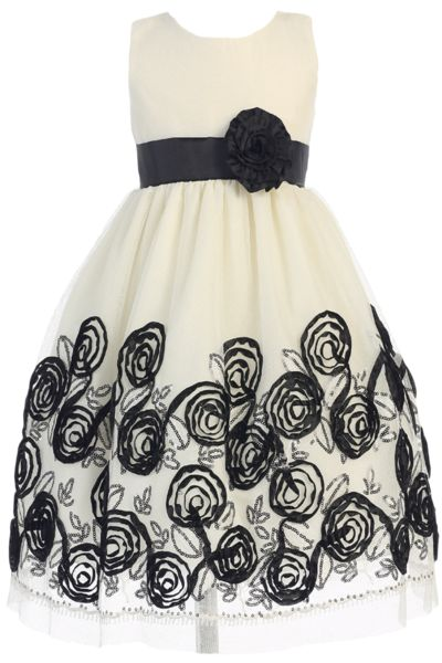 Ivory Tulle & Black Floral Soutache Ribbon Girls Holiday Dress 2T-12 (C988)