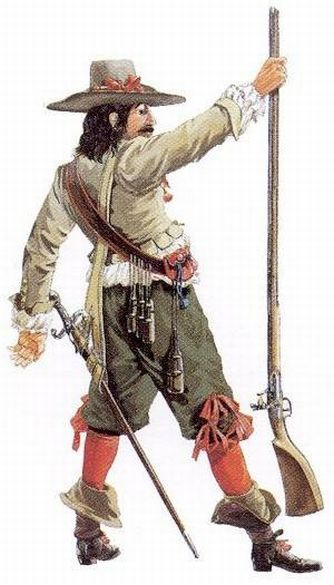 """Soldier of the Company of the Hundred Associates in Canada, circa 1650 - """"The Iroquois' acquisition of firearms changed the military tactics in New France. Helmets and breastplates became useless, and French soldiers simply wore their usual clothing. This man's clothing follows contemporary civilian fashions in France. Hanging from a belt around his chest, this soldier carries individual charges of gunpowder in flasks jokingly known as 'the Twelve Apostles'."""""""