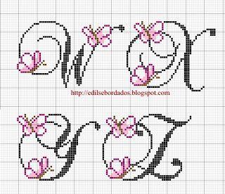 Edilse Bordados: Monograma de borboletas em ponto cruz!!! (5)