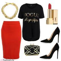 Вечерний лук. Красная юбка миди и футболка с принтом