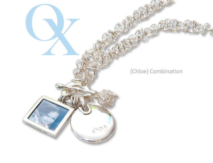 Chloe- Our cool metro chain with spun ball, signature round pendant which can be customized to your specifications, and a lg photo pendant (double sided) www.lovelinx.ca