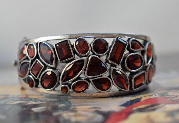 MASSIVE Art Deco Garnet Bracelet Vintage by PrettyDifferentShop