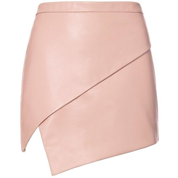 Michelle Mason Women's Asymmetric Hem Leather Mini Skirt ($598) ❤ liked on Polyvore featuring skirts, mini skirts, leather miniskirt, zipper skirt, mini skirt, asymmetrical skirt and pink skirt