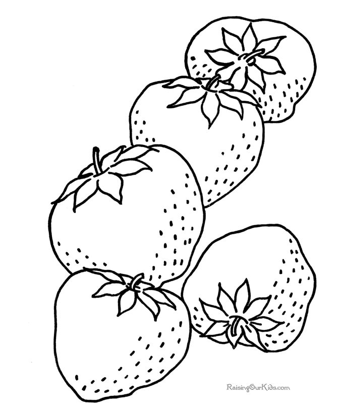 Strawberry coloring book page
