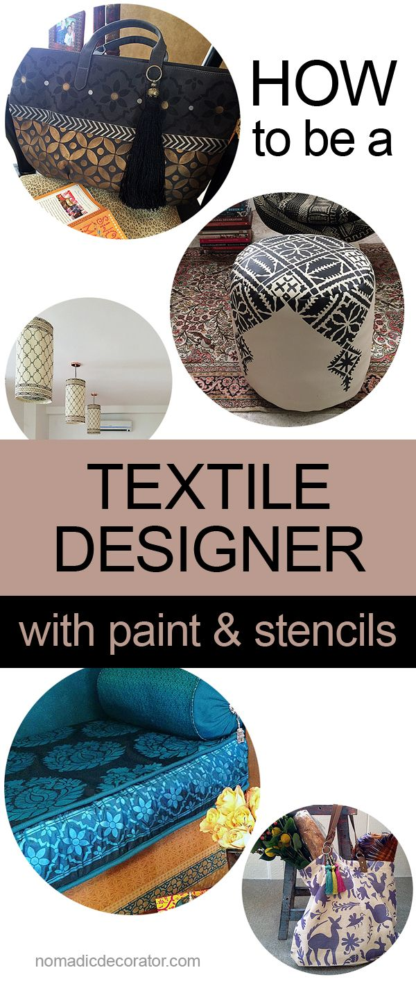You can easily be a textile designer with paints and stencils! Create your own tote bags, pillows, cushions, scarves, shawls, poufs and much more ...