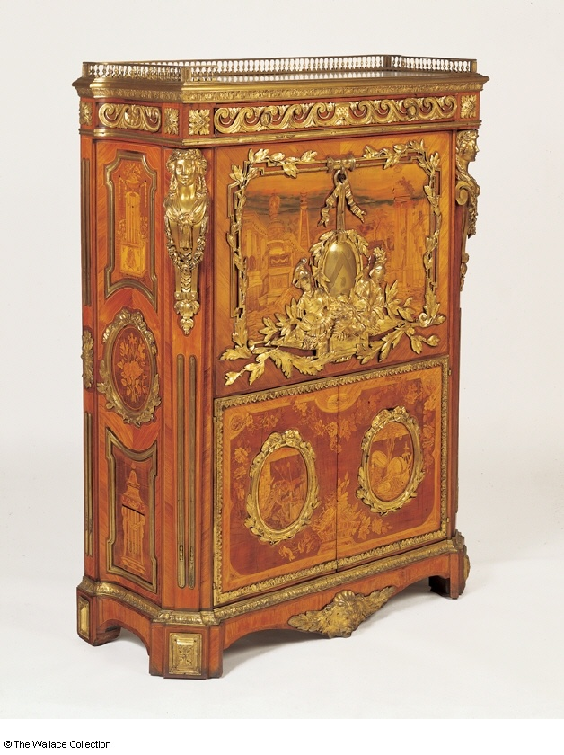 Secretaire  Pierre-Antoine Foullet (c. 1732)  France  c. 1777  Oak, veneered with panels of pictorial marquetry in holly, box, stained sycamore, pear wood, walnut, sycamore, tulipwood, gilt bronze, Carrara marble, box, amaranth and satiné