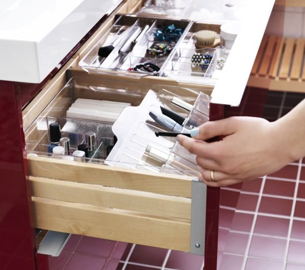 70% of Americans share their bathroom with a spouse or partner. Organize your toiletries, make-up and accessories to make it easy to find what you need faster in the morning. GODMORGON storage units from IKEA are a great option to help clear clutter and get your items in order.