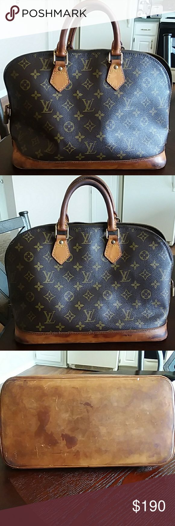 Vintage Louis Vuitton Monogram  Alma Bag With the proper care this bag can me bought back to life. I was told to use some cadillac leather cleaner. I rather  sell it to someone that can bring it back to  life and know what they are doing.   All flaws are shown in the picture. There aren't any rips  or tears on the inside of the bag. Louis Vuitton Bags Satchels