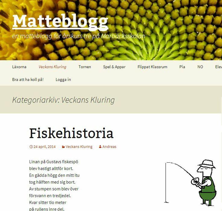 Två matte/NO-lärare, Gustav Björk https://twitter.com/kgbjork och Andreas Ekblad https://twitter.com/AOakleaf , har tills med eleverna i årskurs 3 på Marbäcksskolan skapat http://matteblogg.se/ . Veckans kluring http://matteblogg.se/category/veckans-kluring/ . Flippat http://matteblogg.se/exempelsida/ . Bloggen är nominerad till en av de fem bästa bloggarna för år 1-3 http://matteblogg.se/nominerade-i-webbstjarnan-2014/ . #matteblogg
