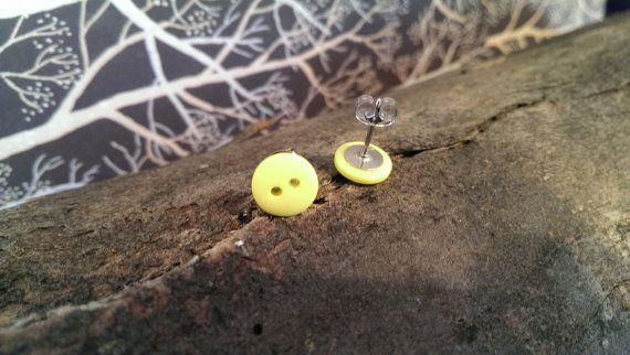 Soft Green Button Stud Earrings by LittleEmeraldButtons on Etsy, $8.50