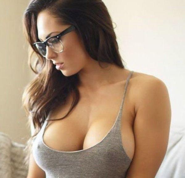 Busty Brunette Glasses Blowjob