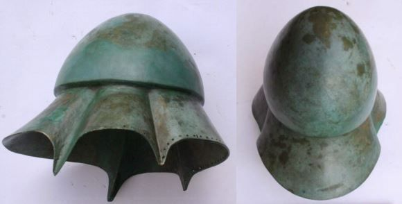 Boeotian helmet, 4th century B.C., found in Bulgary. The Boeotian helmet was a type of helmet that was used in Classical Antiquity and the Hellenistic period, and possibly originated in the Greek region of Boeotia