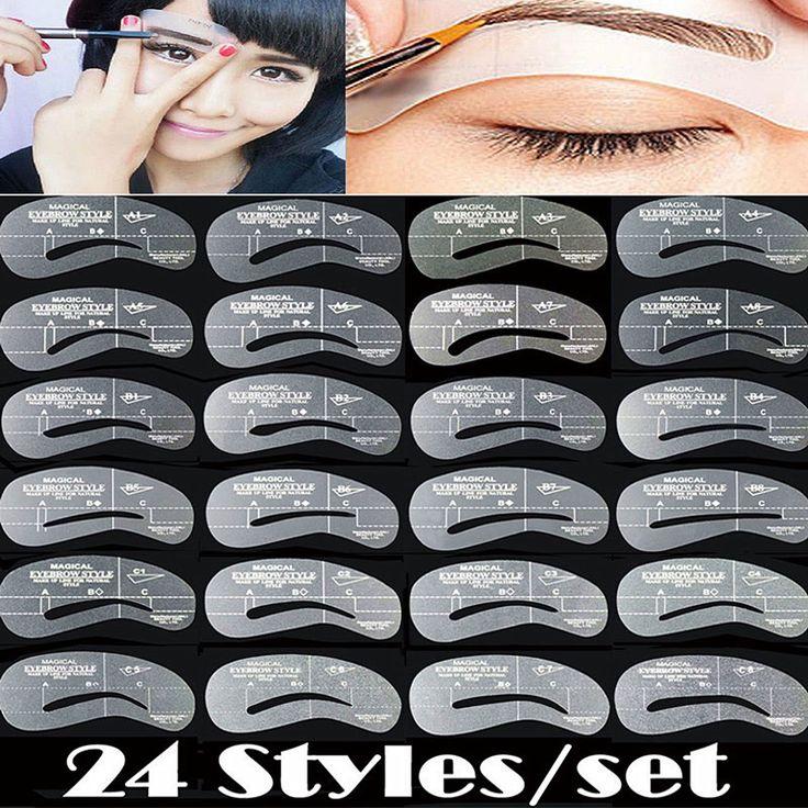 24 Unids/set Plantillas de Cejas Cejas Grooming Kit DIY Tarjeta de Guía de Dibujo Set Herramienta de la Plantilla Del Maquillaje de La Talladora NB149