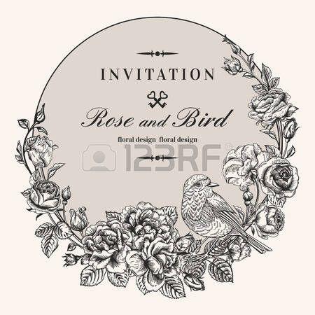 Vector vintage cadre rond avec des oiseaux et des roses Couronne de fleurs Noir et blanc Fit for car Banque d'images