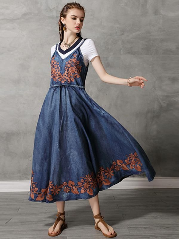 Vintage dress  jean dress with embroidery
