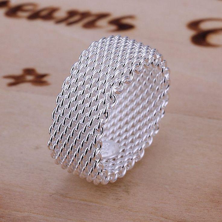 Ücretsiz Nakliye Gümüş Yüzük Güzel Moda Net Yüzük Kadın ve Erkek Hediye Gümüş Takı Parmak Yüzük SMTR040