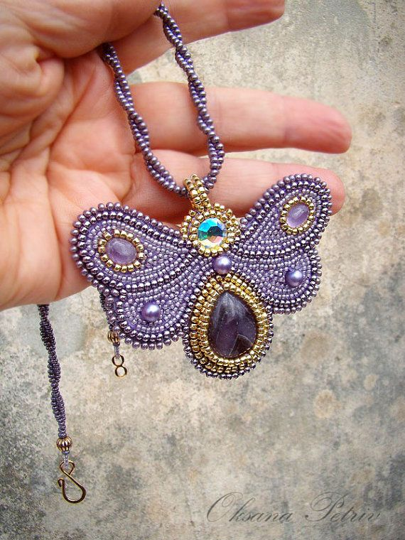 Light lavender butterfly beaded necklace bead by OPGDesign on Etsy