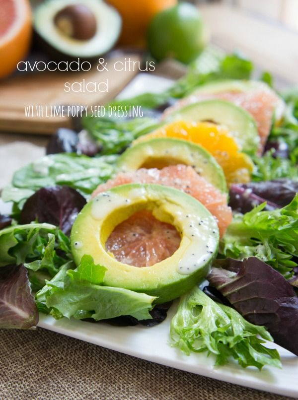 Avocado & Citrus Salad with Lime Poppy Seed Dressing