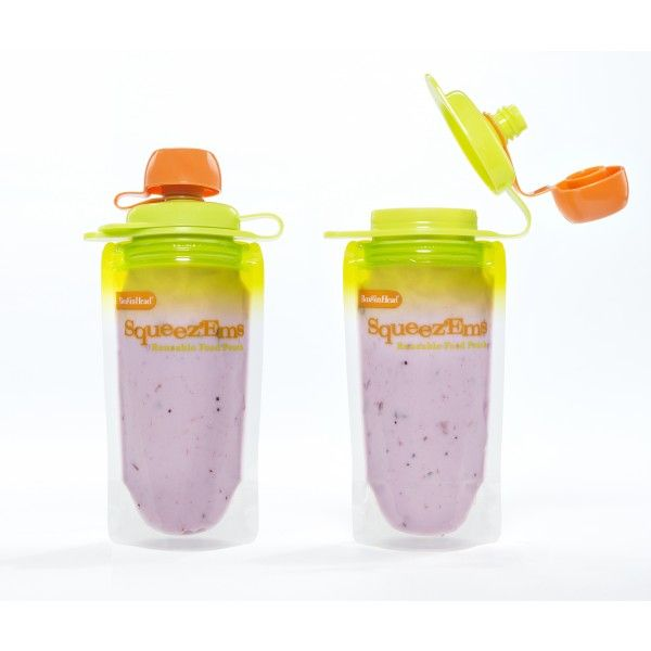 Squeez'Ems - reusable babyfood pouches.... Freezer, microwave and top rack dishwasher safe