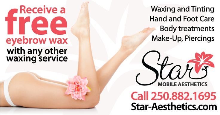 Spa services done in the comfort of your home! Manicures, pedicures, waxing,facials, body treatments, tinting, make-up, ear and nose piercing! Receive a free eyebrow wax with the purchase of any other waxing service. Call Heather today! http://thegocard.ca/star-mobile-aesthetics Get a GoCard here//bit.ly/2qlGbI2