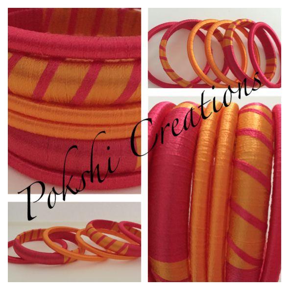 Silk thread Jewellery - pinkish Red and mango yellow combo