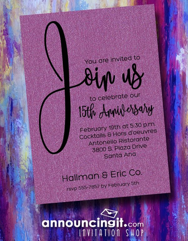 Celebrate the years you've been in business with these shimmery purple Join Us business anniversary invitations. Change the wording or use ours to create invitations that are perfect for the opening of your business, business service awards invitations, corporate dinner party invitations, business banquets and more. Printed on shimmery purple paper and comes with coordinating shimmery white envelopes. See all our business invitations at Announcingit.com
