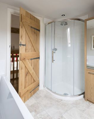 Shower - Border Oak Cottage- That DOOR!