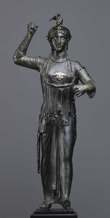 Statuette of Athena Promachos. Artist/Maker(s): Unknown. Culture: Roman. Place(s): Italy (?) (Place created). Date: 50 B.C. - 25 A.D. Medium: Bronze.