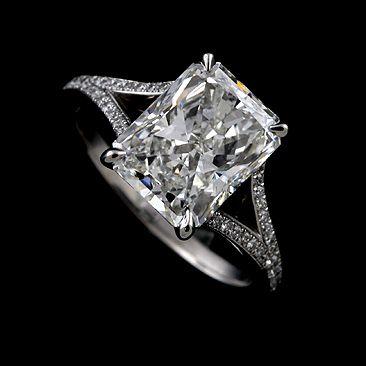 Micro Pave Set Diamond Split Shank Modern Platinum 950 Engagement Ring | OroSpot - Jewelry on ArtFire