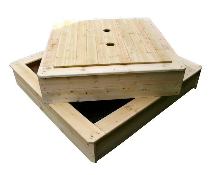 Piaskownica drewniana dla dzieci zamykana 132x120x30 cm