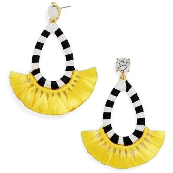 Women's Baublebar Summer Drop Earrings ($38) ❤ liked on Polyvore featuring jewelry, earrings, yellow, baublebar jewelry, yellow drop earrings, earring jewelry, yellow jewelry and tassel earrings