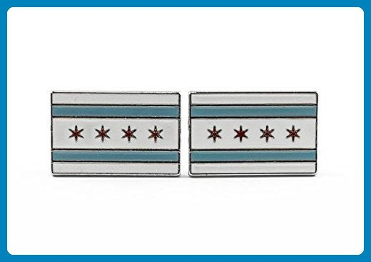 Chicago City Flag Cufflinks - Groom cufflinks and tie clips (*Amazon Partner-Link)