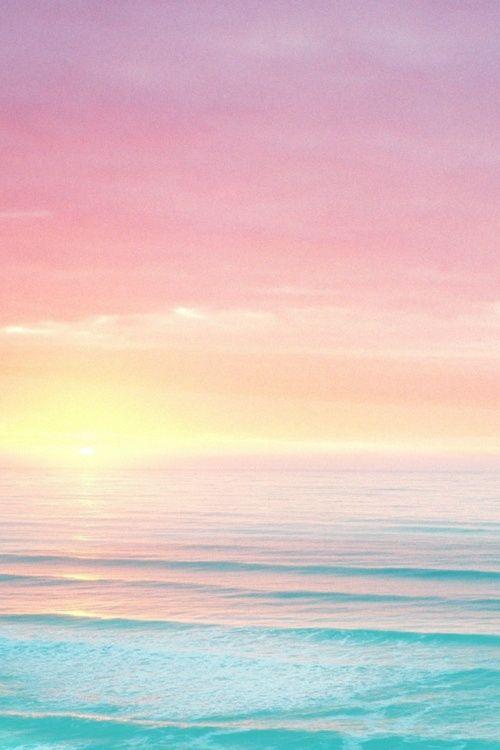 Fond d'écran mer bleu et rose iphone